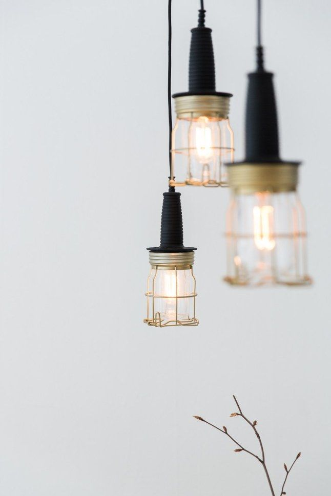 Gold caged pendant lighting