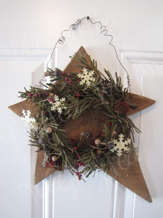 Wooden Star with Wreath