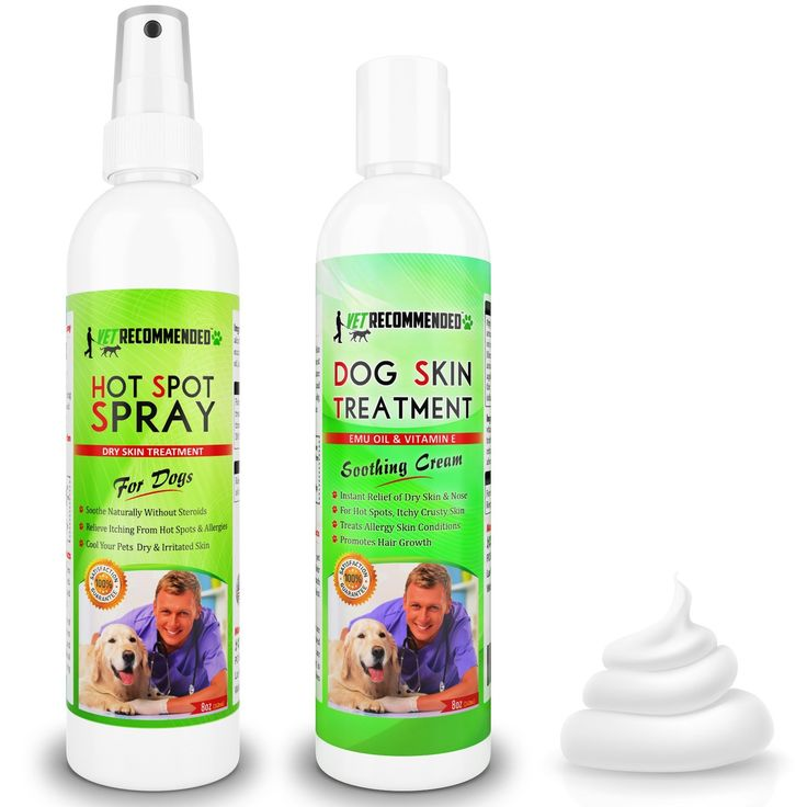 Vet Recommended - Hot Spot Treatment For Dogs Spray & Dog Dry Skin Treatment Cream Twin Bundle Pack - Helps With Dog Hair Loss Hair Regrowth & Dog Dry Nose - Use For Allergy Treatment. 8oz/240ml Each