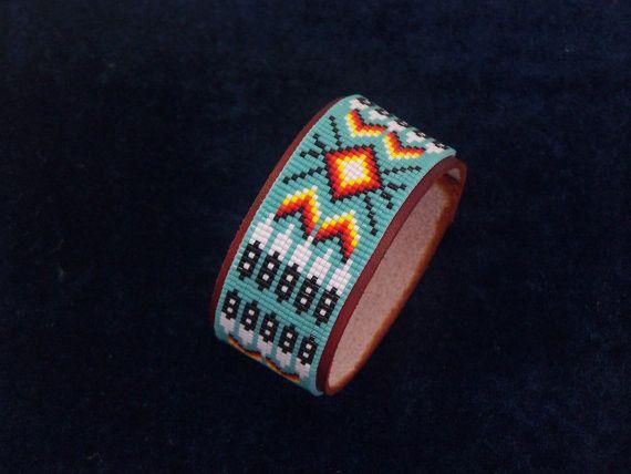 Native American Beaded Cherokee Eagle Feather Bracelet