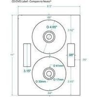 4.65 in. x 4.65 in. Clear CD-DVD Label, Neato Layout, Inkjet only. Compulabel# 375074