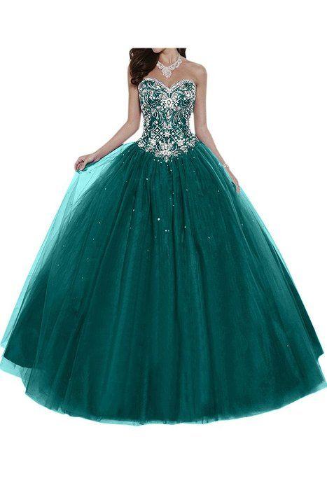 Gorgeous Bride Elegant Herzform Lang A-Linie Ballon Tuell Satin Abendkleider Festkleid Ballkleid -32 Blau-Gruen