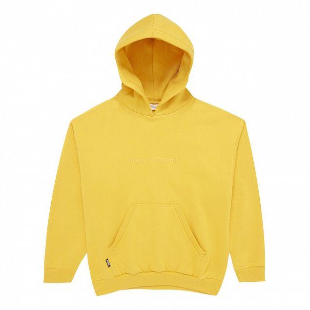 Gosha-Rubchinskiy-Hooded-Sweatshirt-with-Embroidery-Yellow - http://pausemag.co.uk/2016/08/spotted-tyga-steps-out-his-red-ferrari-in-gosha-rubchinskiy-hoodie/
