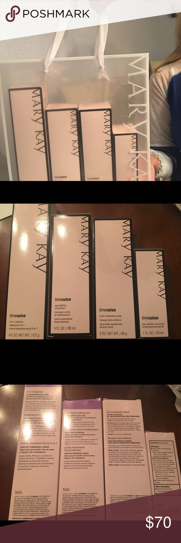 Mary Kay skincare kit Timewise collection 3 in 1 one cleanser Age fighting Moisturizer even complexion mask day solution sunscreen Mary Kay Other