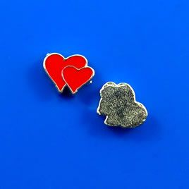 #Floating #charm, silver-finished, 7x8mm double-hearts. #TreasureStone Beads Edmonton.