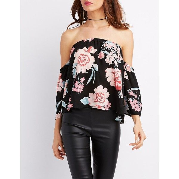 Charlotte Russe Floral Off-The-Shoulder Bell Sleeve Top ($16) ❤ liked on Polyvore featuring tops, black combo, bodycon tops, floral print tops, floral tops, off the shoulder tops and off the shoulder chiffon top
