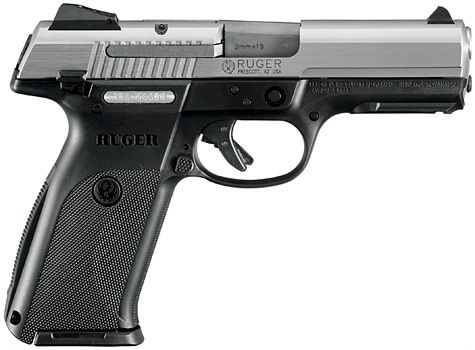 """Ruger® SR9® Centerfire Pistol Models  """"Ruger SR9 it is a semi auto 9mm that holds 17&1 polymer receiver with stainless slide. Nice and thin for concealment, trigger safety and external safety which makes concealed carry with one chambered more safe. very fairly priced at around $499 new. They make a compact model as well."""""""