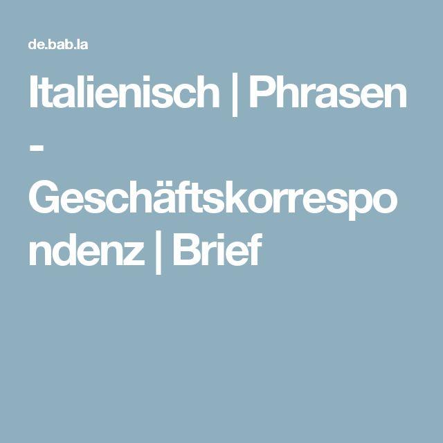 Italienisch | Phrasen - Geschäftskorrespondenz | Brief