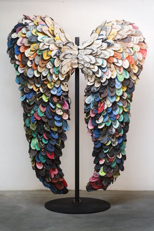 Alfredo and Isabel Aquilizan, Last Flight, 2009  Used rubber slippers