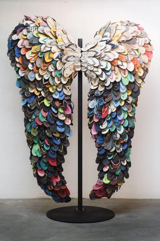 Alfredo and Isabel Aquilizan, Last Flight, 2009  Used rubber slippers: Slippers, Shoes, Angel Wings, Art Sculpture, Art Installations, Flip Flop, Flip Flops Art, Photo, Memorial Mornings