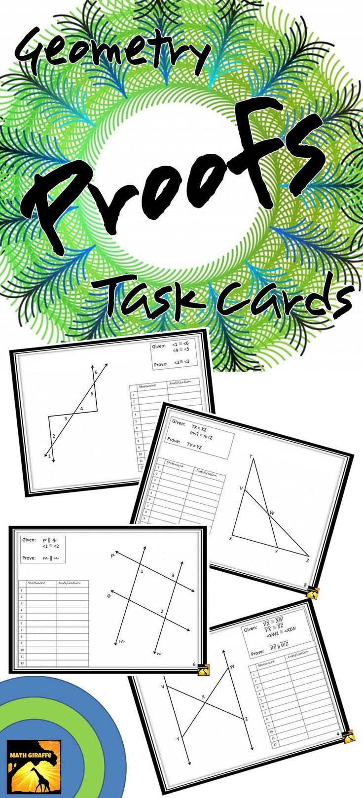 challenging set of geometry proofs for practice or assessment