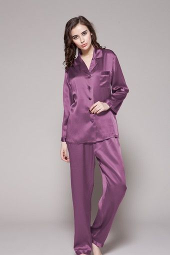 Full-length Silk Pajamas For Women - Pajamas with matching hair tie