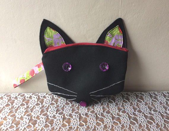 Trousse chat noir Trousse à maquillage au chat/renard noir