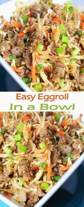 Easy Eggroll in a Bowl1 lb ground sausage1 bag dry coleslaw mix (shredded cabbage and carrots)5 cloves garlic, minced1/2 cup soy sauce (low sodium preferred)1 teaspoon gingersliced green onion