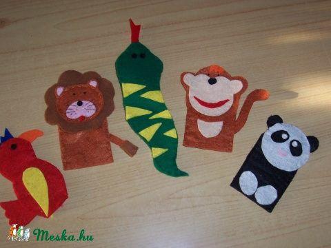 Ujjbábkészlet vadon élő állatok, Baba-mama-gyerek, Játék, Gyerekszoba, Meska