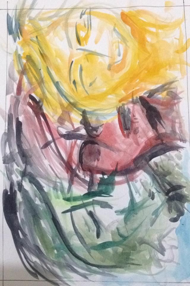 Recreate Art: Three Moods by Affandi in perception of my own [ if Affandi describes his three moods in 'male's way, i try to make it in 'female' expression. the yellow one shows happiness, red one shows anger, and green one shows sorrority. three of them have facial expression that a bit different compared to Affandi made ]