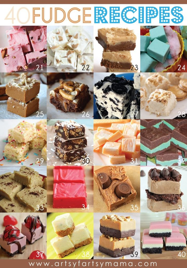 DIY Roundup of 40 Fudge Recipes from Artsy Fartsy Mama here. Someof the recipes linked: • Gingerbread Chocolate Fudge • Banana Cream Fudge • Pumpkin Chai Fudge • Cotton Candy Fudge • Red Velvet Fudge