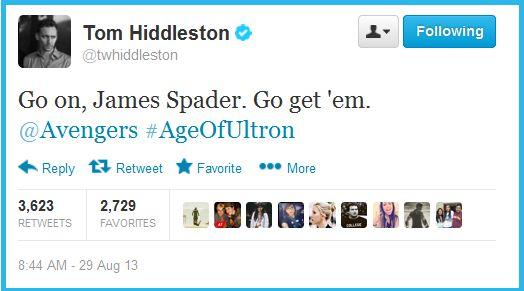 From One Avengers Villian to the Next. Tom Hiddleston on James Spader who will play the villain Ultron in Avengers 2.