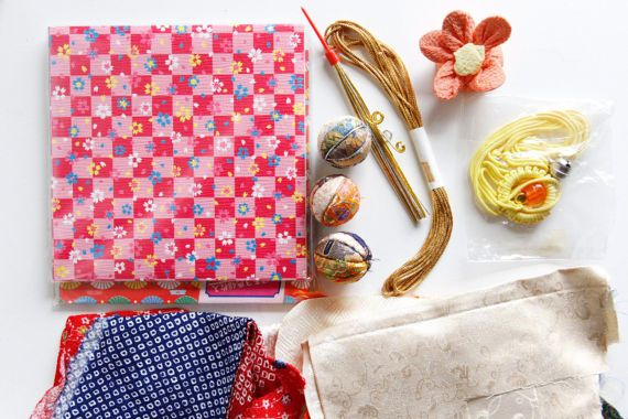 Japanese Textile Scrap Box Japanese Vintage Kimono fabric