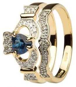 14K Gold Sapphire & Diamond Claddagh Ring with Optional Matching Wedding Band