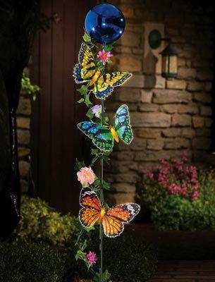 Fiber Optic Butterflies & Glass Orbs Garden Stake
