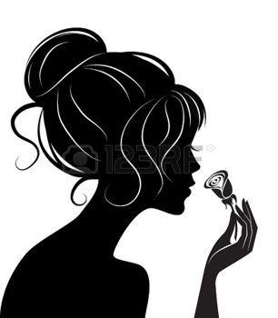 sagome stilizzate: silhouette di ragazza di bellezza con rosa. Illustrazione vettoriale