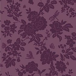 Dragonfly and butterfly purple wallpaper - Nina wallpaper grey