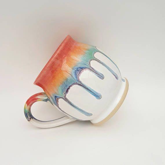 Rainbow over White Stoneware Mug  Ceramic Mug  Pottery Mug