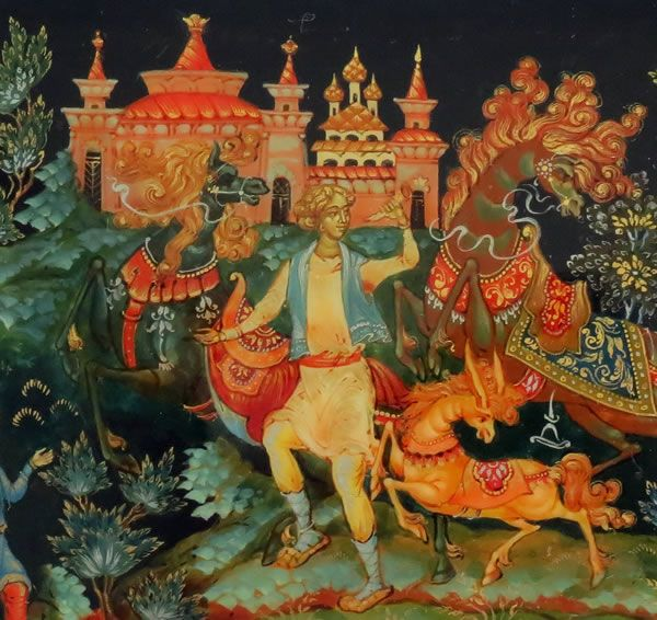 "Russian Lacquer Box Titled ""Little Humpbacked Horse"" by Msyevskaya T. Palekh"