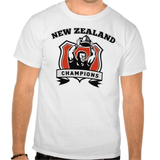 Rugby player championship cup New Zealand T-shirts. illustration of a Rugby player raising up championship cup set inside a shield with with words New Zealand Champions. #illustration #RugbyplayerchampionshipcupNewZealand #rwc #rwc2015 #rugbyworldcup