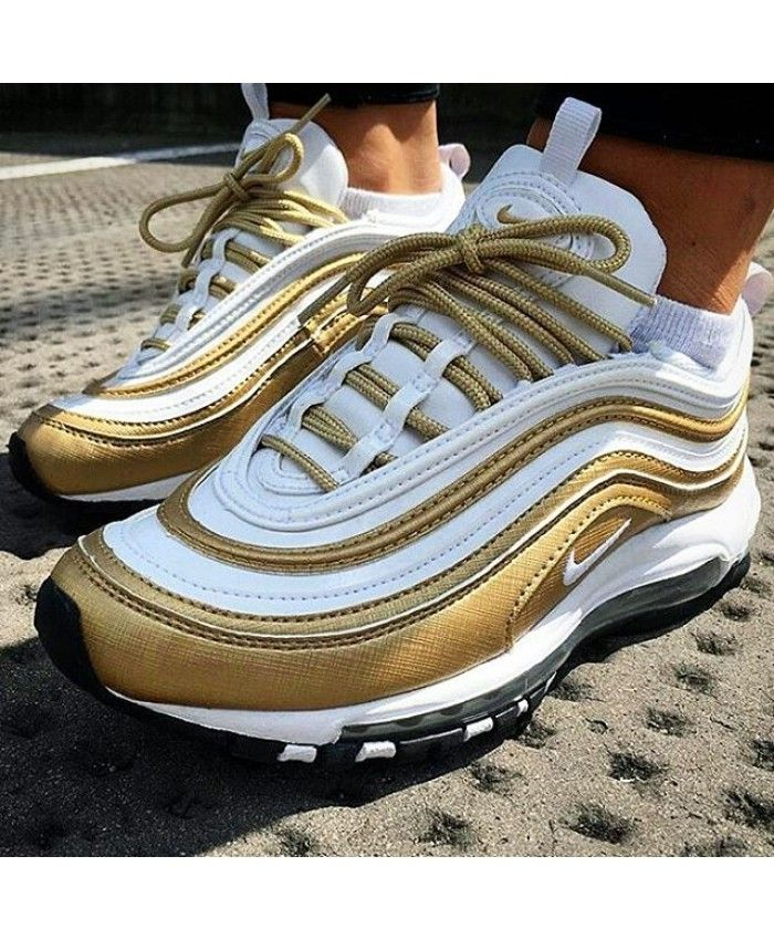 Discount Authentic Mens Nike Air Max 97 Shoes Cream/Gold/White