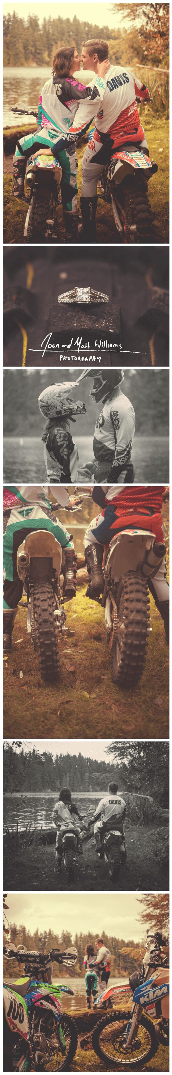 Motocross Autumn Engagement Photos with Dirt Bikes