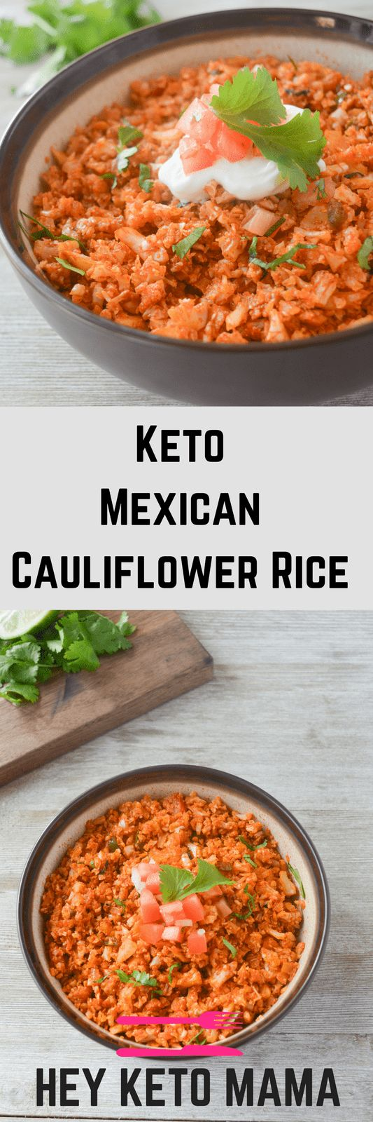This Keto Mexican Cauliflower Rice is a savory side dish to complement any low carb Mexican dish. Especially if you've been struggling to make cauliflower rice a part of your diet, you NEED to try this recipe! | heyketomama.com via @heyketomama