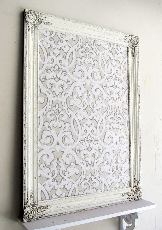 MAGNET BOARD Bulletin Board Wedding Escort Card Holder Shabby Chic Neutral Damask Ivory Distressed Wood Decor Nursery Kitchen Organizer. $169.00, via Etsy.