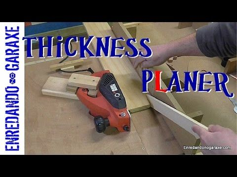 This is a simple and useful homemade woodworking tool. A thickness planer that I made with an electric planer attached to a piece of board and my sliding fen...