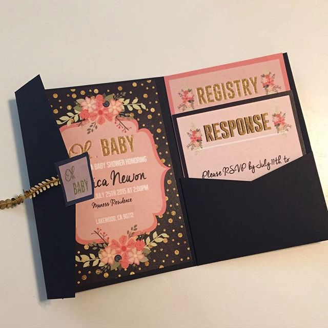 Peach, Navy Gold : Baby Shower Invite
