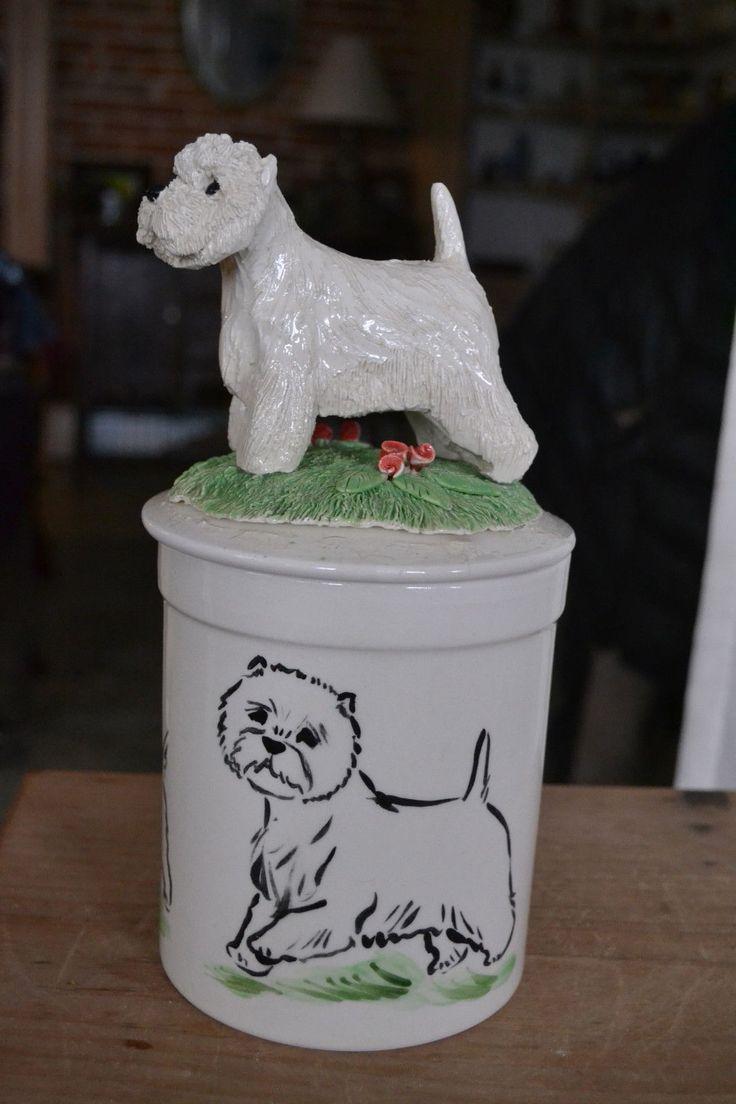 Westie Handsculpted Ceramic Cookie Jar Ceramic Cookie