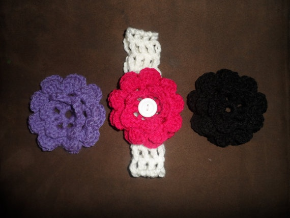 Interchangeable Crochet Flower Pattern : Crochet Headband with interchangeable by ...