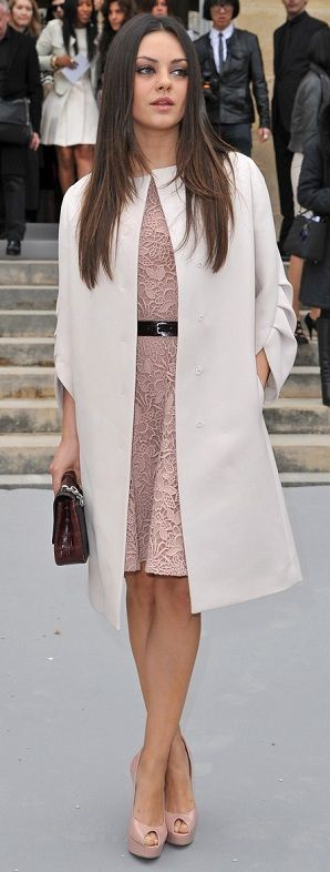 Mila Kunis turning heads as per usual! Amazing example of elegance, blush lace dress and cream coat with blush peep toe courts.