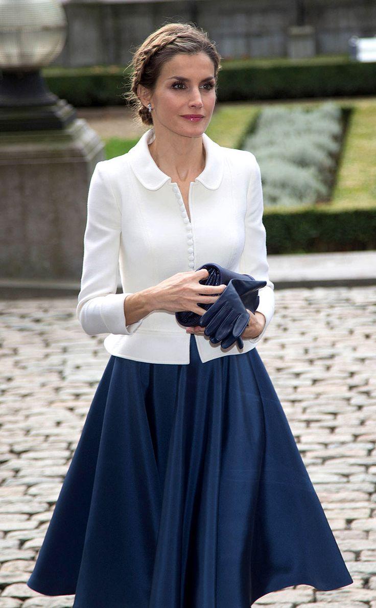 La Reina Letizia de España en el Parlamento belga en Bruselas.