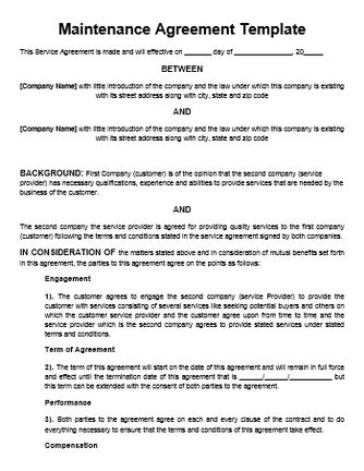 Maintenance Contract Template Template Pinterest Templates - business service agreement template