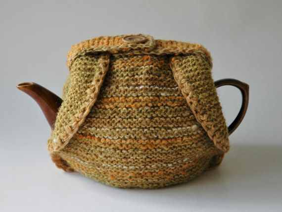 Handspun wool tea cosy knitted in yellows by KororaCrafters