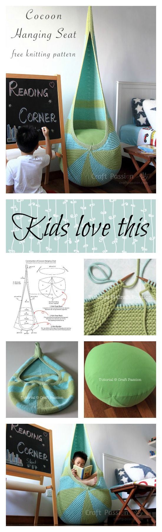 Free knitting pattern to DIY your own  cocoon hanging seat. Written pattern & instructions, tutorial photos to show the details. Include seat insert pattern.