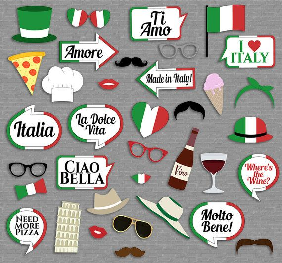 Italian Party props, diy photo booth printables - 13 x Speech Bubbles, 22 x Items  Just purchase the digital file to print and cut out at home.  ---------------------------------------------------------------------------------------------------  - - - LISTING INCLUDES - - - 1. 10 x Speech Bubbles 2. 26 x Items 3. 1 x Printable photo booth sign  2 PDF documents for easy printing.  This listing is for a digital file(s) of design shown only. All Digital Files will be sent as PDF(s)…