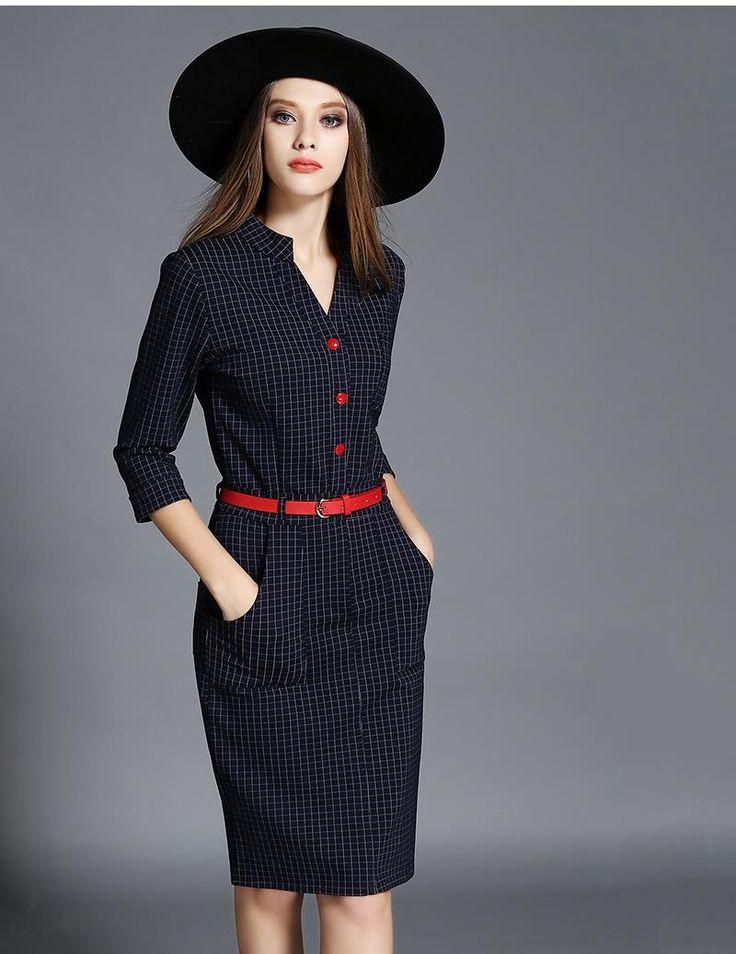 Doresuwe.com SUPPLIES 欧米セレブ愛用新品 2015秋 優雅チェック柄 着やせワンピース 新作ドレス (2)