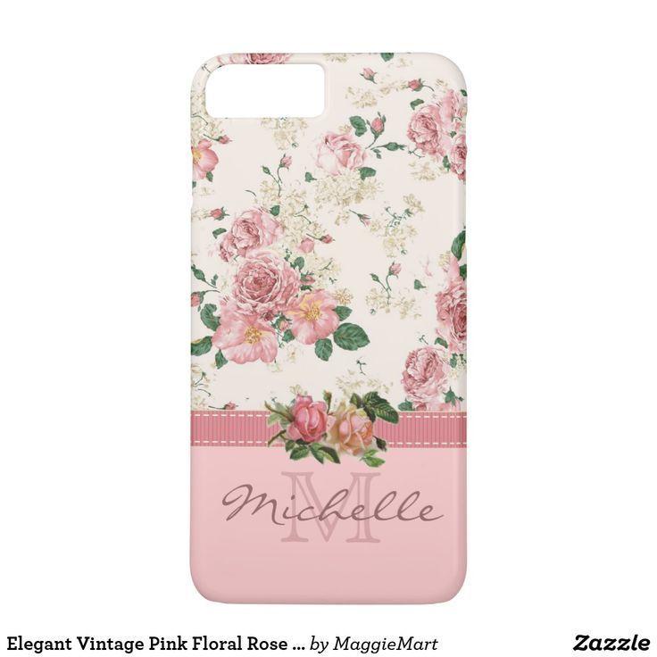Elegant Vintage Pink Floral Rose Monogram Name iPhone 8 Plus/7 Plus Case (scheduled via http://www.tailwindapp.com?utm_source=pinterest&utm_medium=twpin)