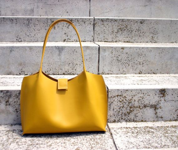 Yellow leather tote bag, mustard yellow leather shopping bag ...