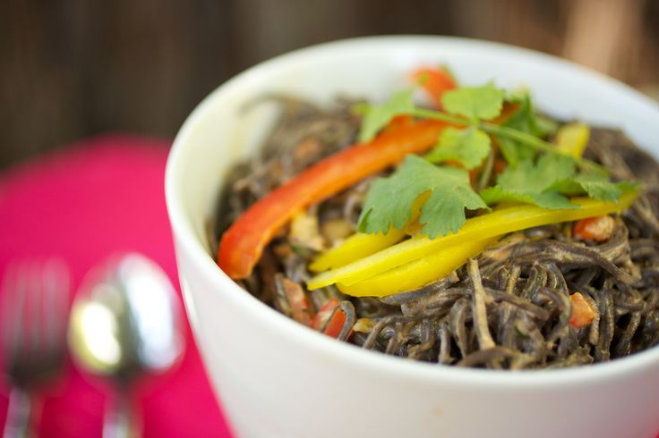 Black Bean Spaghetti with Red Curry Sauce Recipe. seriously tasty. omitted the cilantro because of that lovely gene that makes it taste like dawn dish soap