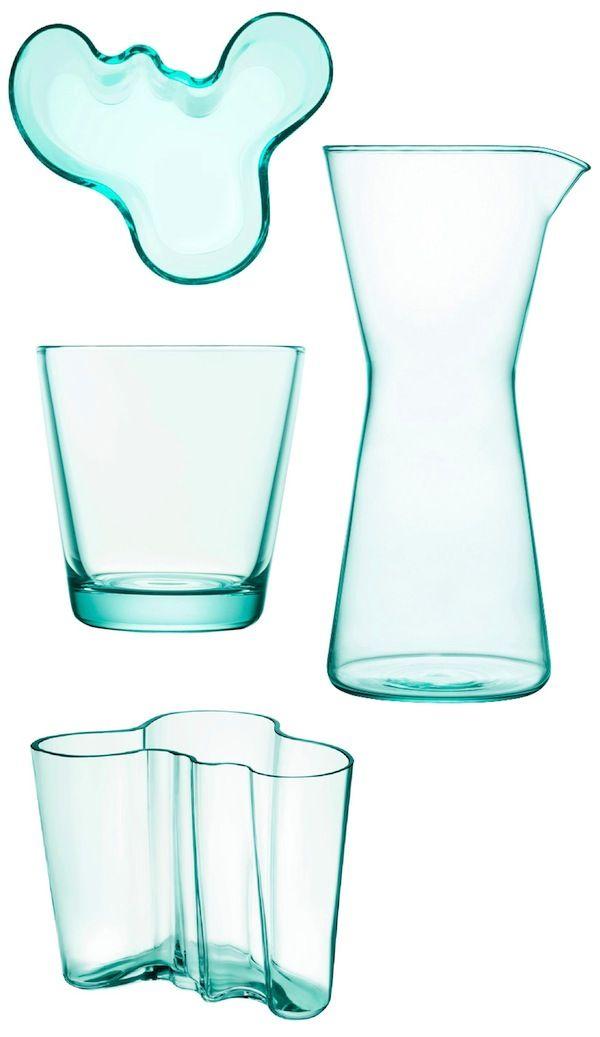Aqua Iittala - Iittala Kartio Tumblers and the matching Kartio Carafe and the iconic, wave-invoking Aalto Vase