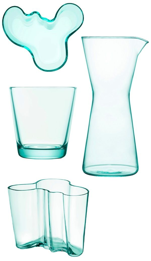 Aqua Iittala - Iittala Kartio Tumblers and the matching Kartio Carafe and the iconic, wave-invoking Aalto Vase
